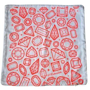 Cushion Cover White Fluro Orange Square Pillow